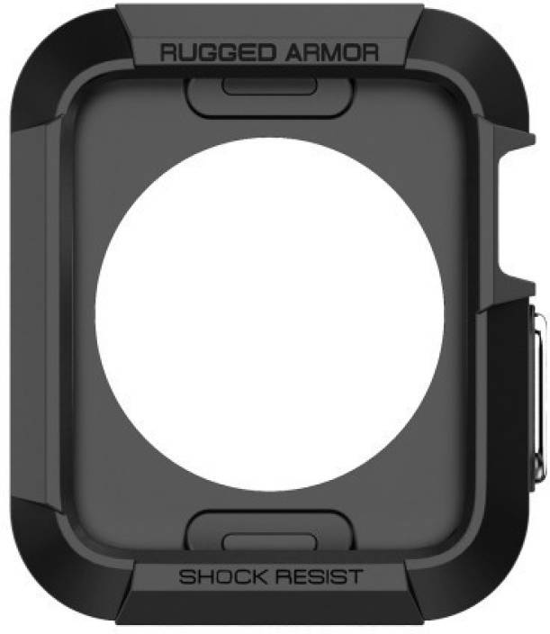 Spigen Back Cover for Apple Watch [Series 1 / Series 2 / Series 3] (42mm) ( Black, Rugged Armor, Plastic)