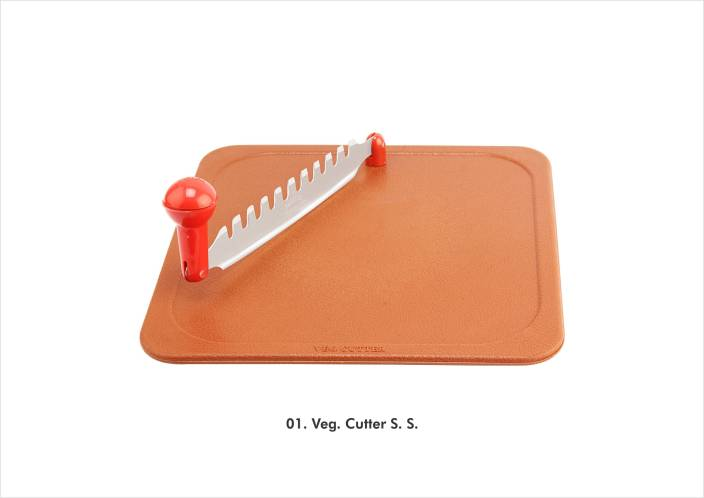Nalini Stainless Steel Vegetable Cutter Plastic Cutting Board (Brown Pack of 1)