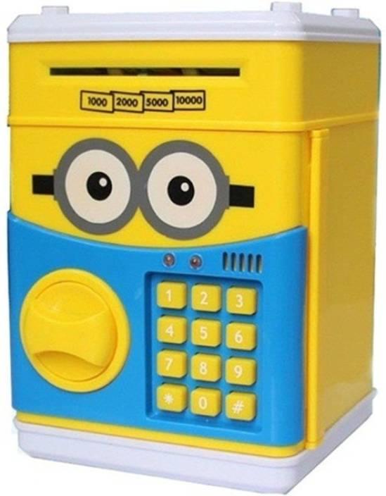 Azi Letest Electronics Minions Style Money Safe Atm Secret Pword Ded Coin Bank