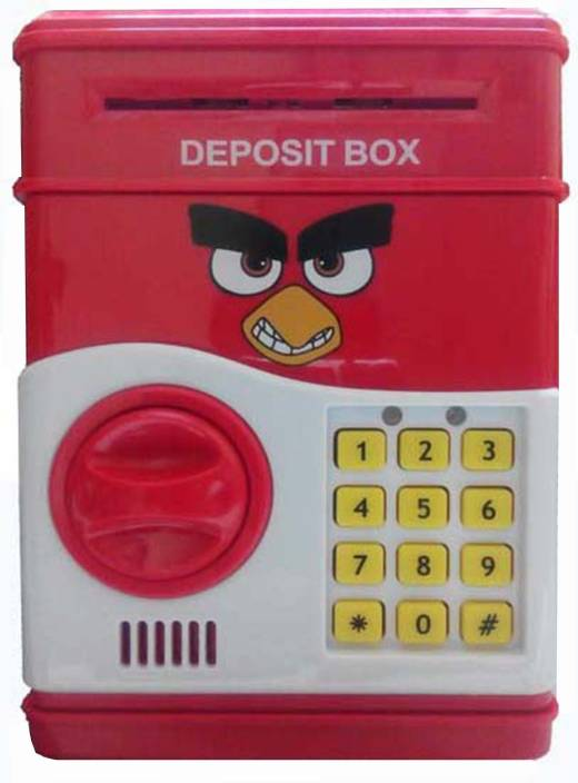 Giftplaza Pword Lock Piggy Bank Safe Box Coins Slot Auto Pulls In Paper Notes Angry Bird Coin Multicolor