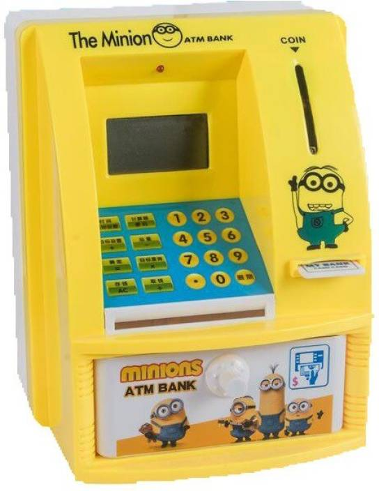 Allin1 Atm Machine Piggy Bank With Personal Card Lcd Display Toy For Kids Coin