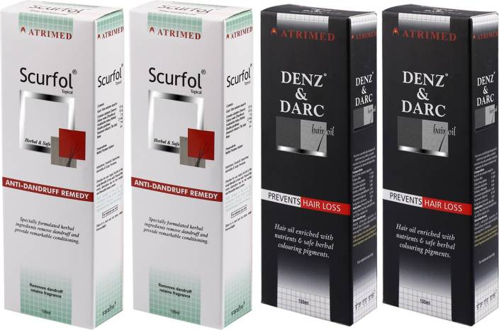 Atrimed Denz & Darc Hair Oil and Scurfol Anti-Dandruff Topical Pack of 4