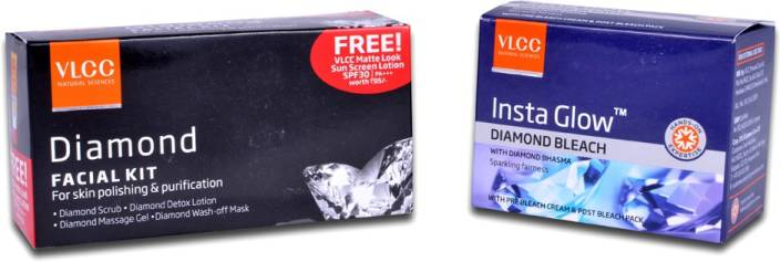 VLCC Diamond Polishing Facial Kit & Insta Glow Diamond Bleach