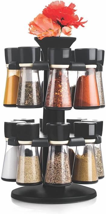 Floraware Black 16-Jar Revolving Spice Rack Masala Box Condiment Set