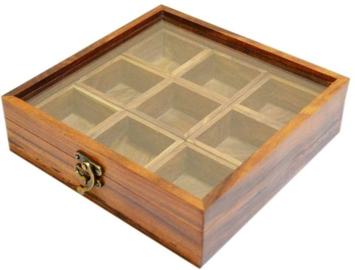 Spectrahut 9 Container Spice Box Container 270 Ml Wooden Spice Container