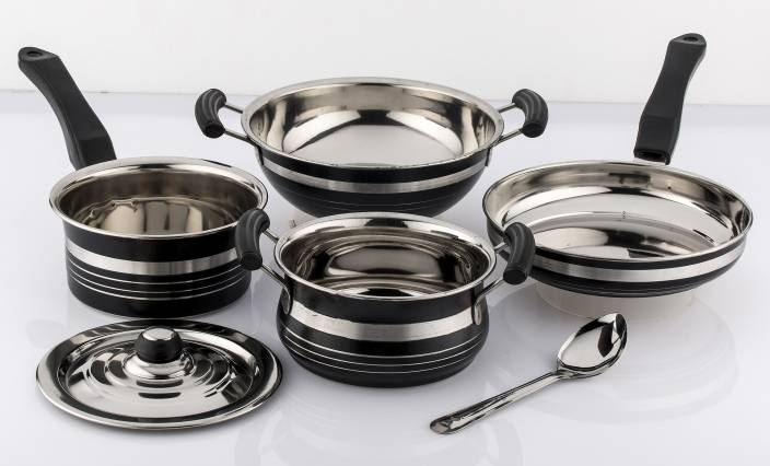 07566d5e1ed Mahavir Metallic Induction   Lpg Compatible Induction Bottom Cookware Set (Stainless  Steel