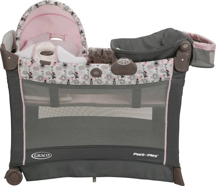 7e0fd0f7eb3 Graco Pack  n Play Playard with Cuddle Cove Premiere Rocking Seat -  Minnie s Garden Cot (Multicolor)