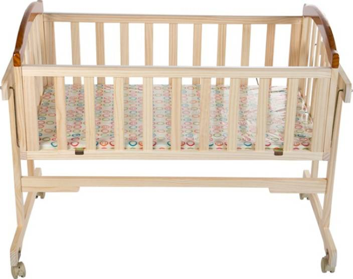 Meemee Baby Wooden Cradle With Swing Mosquito Net