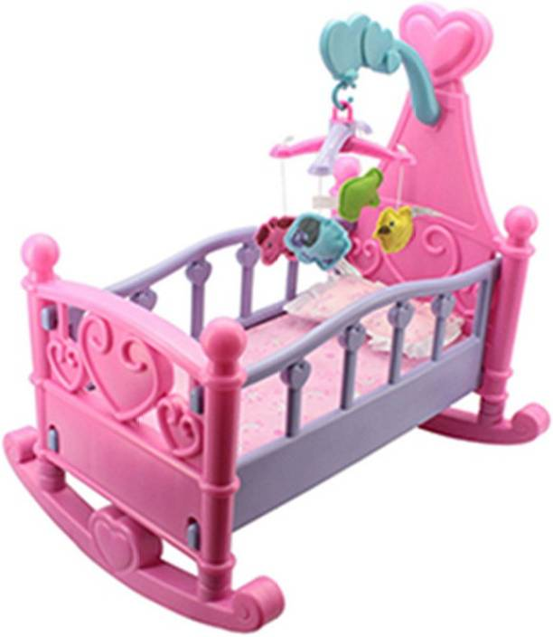 Vaibhav Musical Rocking Cot Bed Crib With Baby Doll Toy Cradle