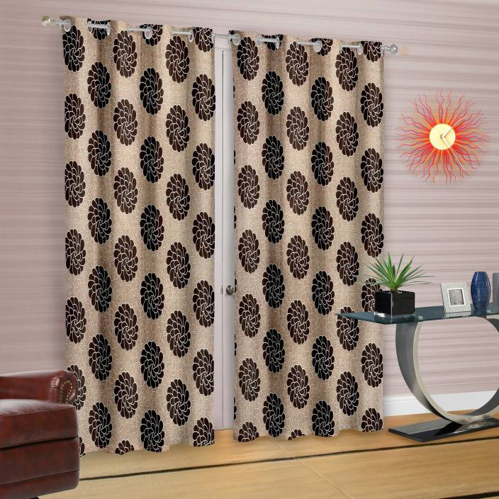 Cortina Polyester Door Curtain 210 cm (7 ft) Pack of 2