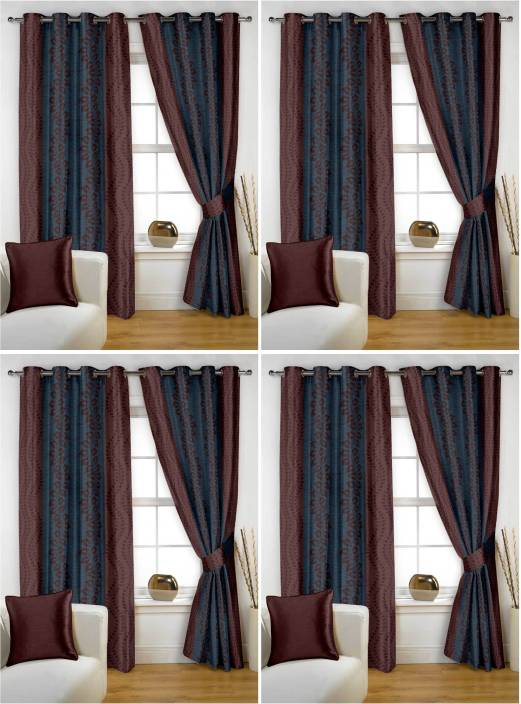 Story At Home 152 Cm 5 Ft Polyester Window Curtain Pack Of 8