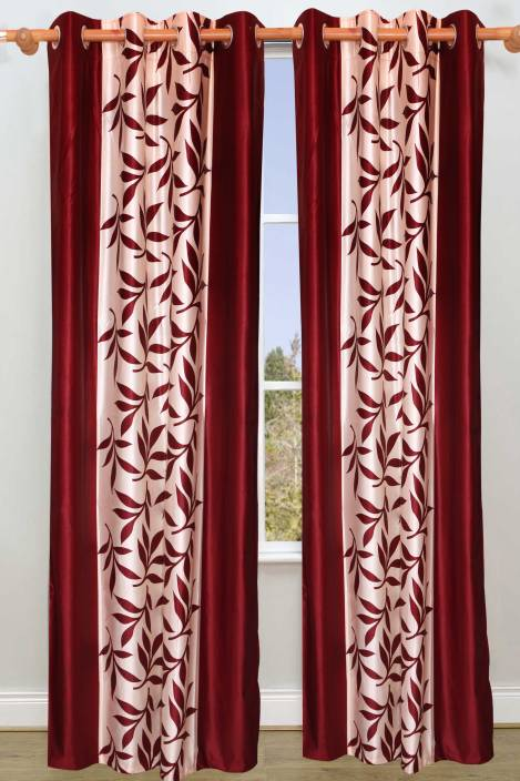 Vrinda Polyester Long Door Curtain 274 cm (8.8ft) Pack of 2