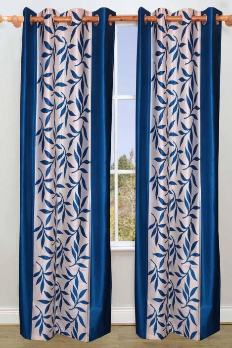 Vrinda Polyester Aqua Floral Eyelet Long Door Curtain