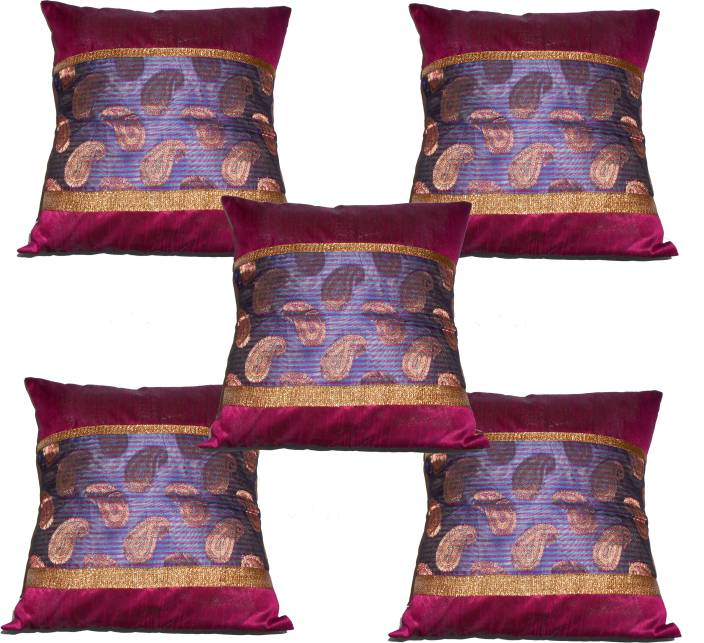 Pink Parrot Embroidered Cushions Cover