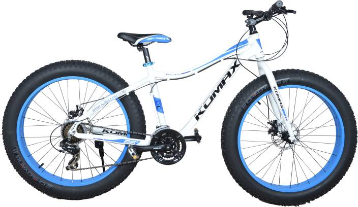 Longhorn Komax Fat Bike 26 21sd T Tyre Cycle 21 Gear White Blue