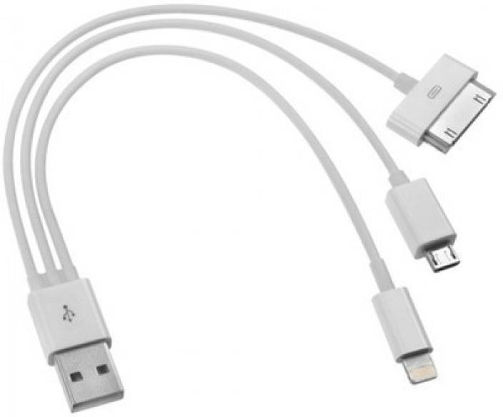 a5a3ec6dc87 HPD 3-in-1 USB Cable Charger iPhone 4, 4S, 5, iPad Mini, HTC, Samsung,  Android USB Cable (White)