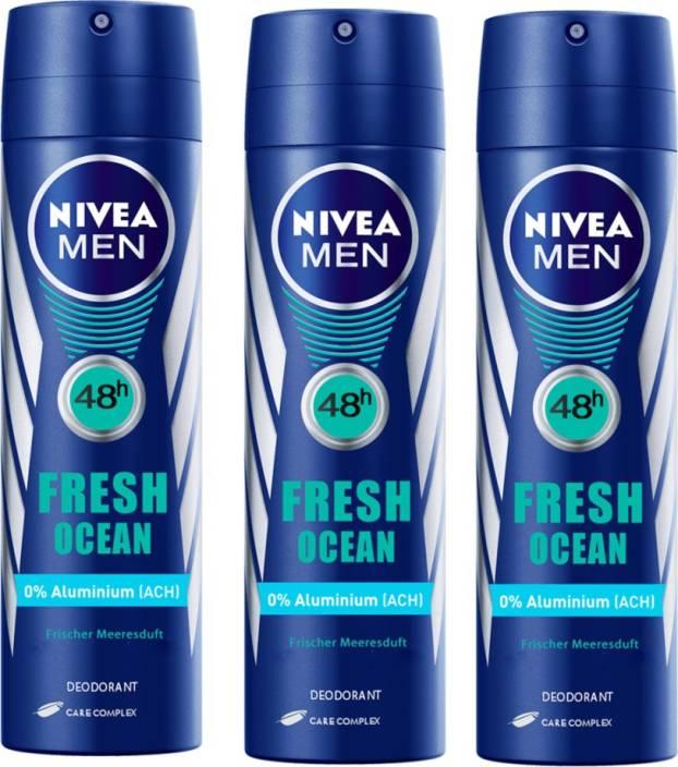 c927ff3fa Nivea MEN Fresh Ocean Longlasting Pack of 3 Deodorant Spray - For Men (150  ml, Pack of 3)