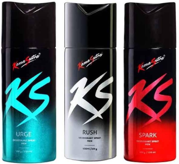 5e29e3d54 KamaSutra SPARK(150ML), URGE(150ML) & RUSH(150ML) Deodorant Spray - For Men  (450 ml, Pack of 3)