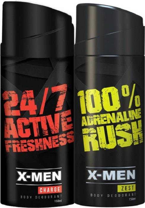 x men 24 7 active freshness 100 adrenaline rush deodorant spray