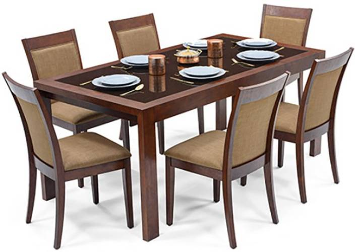Urban Ladder Vanalen 6 - to - 8 Extendable - Dalla Glass 6 Seater Dining Set