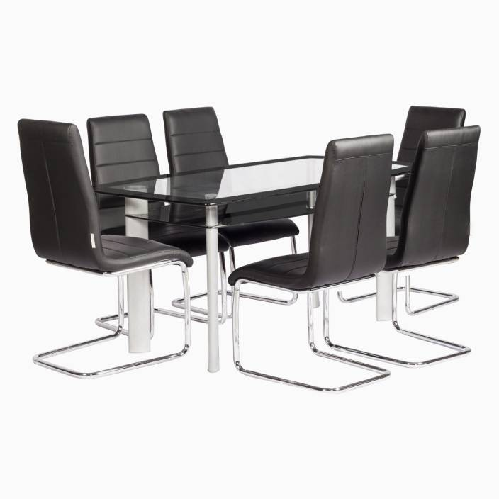 Godrej Interio Glaze Pluto Dining Set Glass 6 Seater Dining Set Price In India Buy Godrej