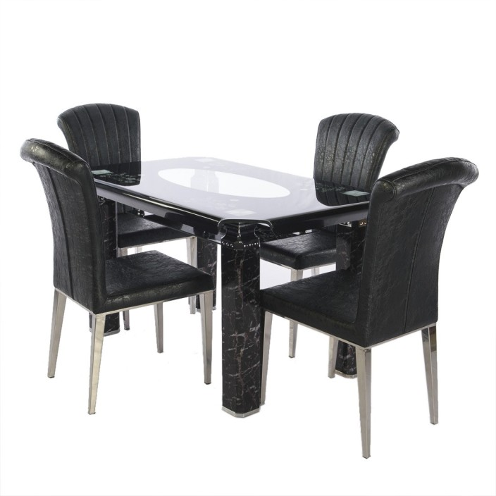 Irony Furniture Glass 4 Seater Dining Set