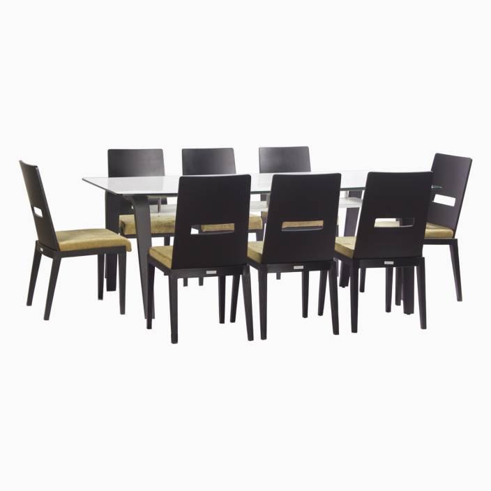 de7fb2230e Godrej Interio Crescent Dining Set Glass 8 Seater Dining Set (Finish Color  - Dark Chocolate)