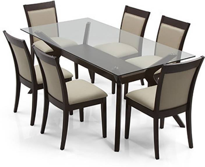 Urban Ladder Wesley - Dalla Glass 6 Seater Dining Set