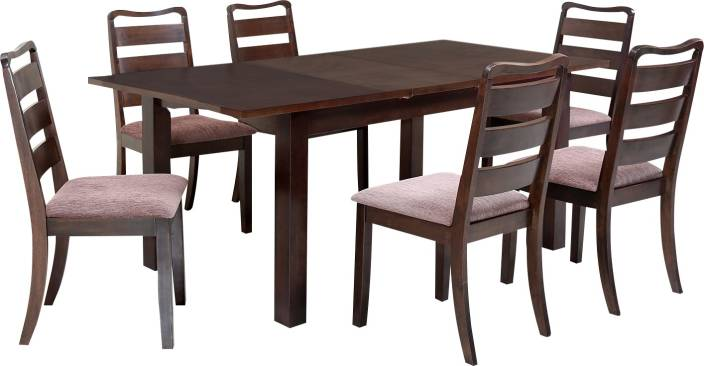 @home by Nilkamal OMAHA2 Solid Wood 6 Seater Dining Set
