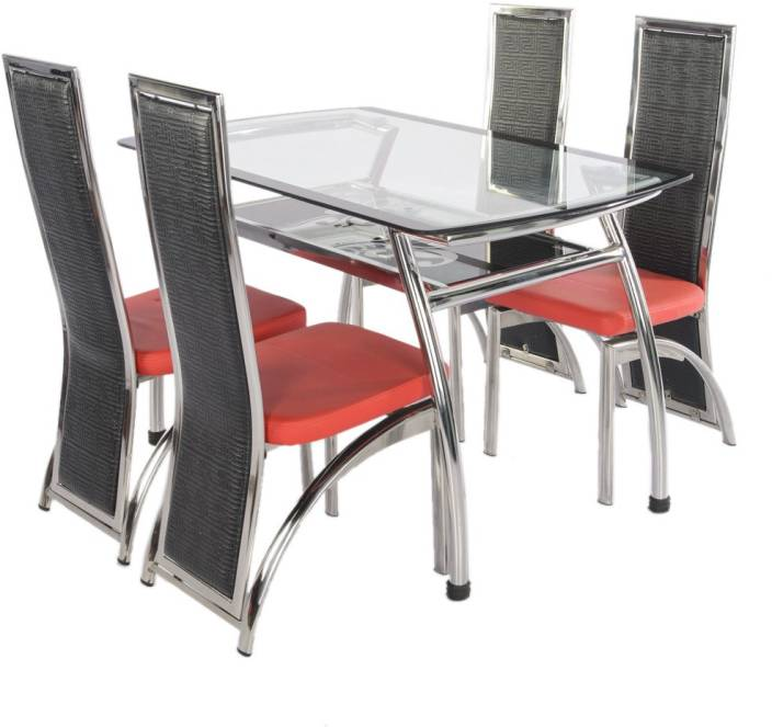 Irony Furniture Gl 4 Seater Dining Set Finish Color Steel