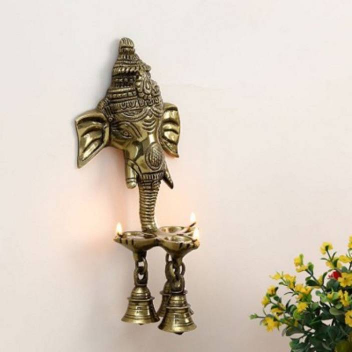 Aesthetic Decors Wall Hanging Three Diya Oil Lamp in Gold Polish Decorative Showpiece  -  25 cm