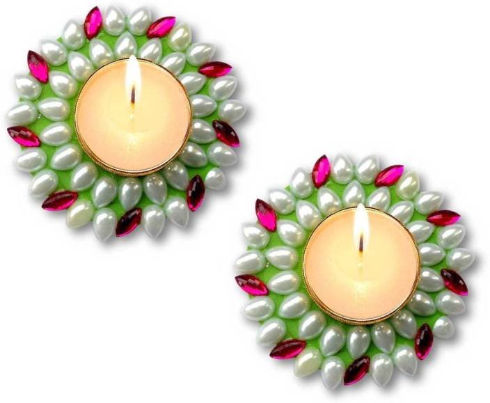 3482aba01 Unique Arts 2 multi Kundan floating Stoneware (Pack of 2) Table Diya Set  (Height  2 inch)
