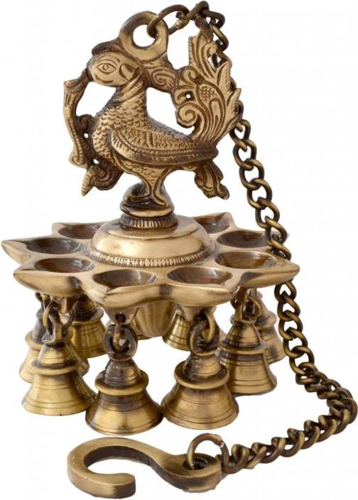 Aakrati Peacock Hanging Lamp with Bells Brass Hanging Diya