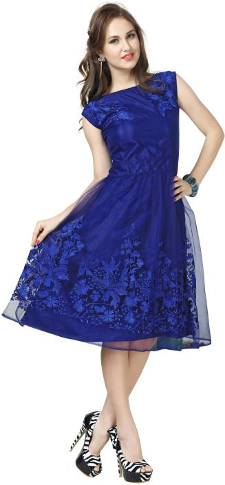 Elevate Women Women Fit and Flare Blue Dress