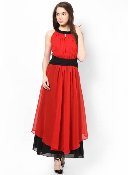 Athena Women's Maxi Red, Black Dress - Buy Red, Black Athena ...