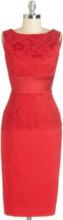 Archerz Women's Empire Waist Red Dress