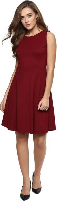 Miss Chase Women's Fit and Flare Maroon Dress