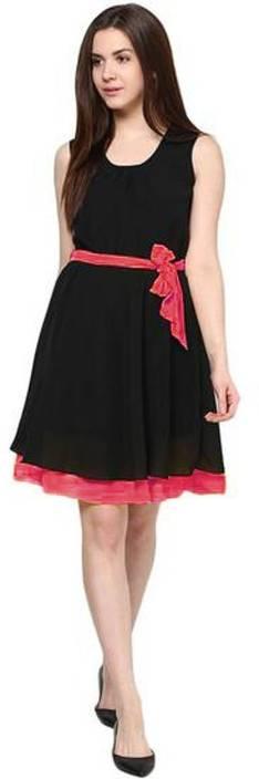 Uttam Enterprises Women's A-line Black, Pink Dress