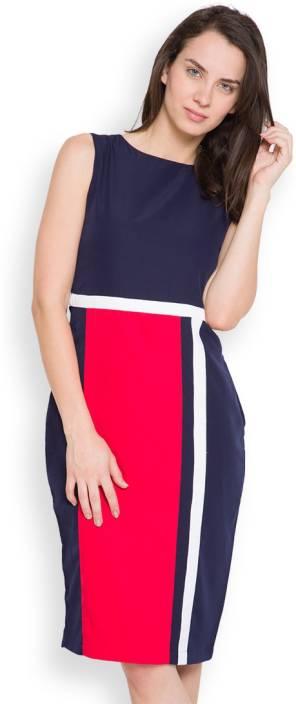 Tokyo Talkies Women's Sheath Dark Blue, Red Dress