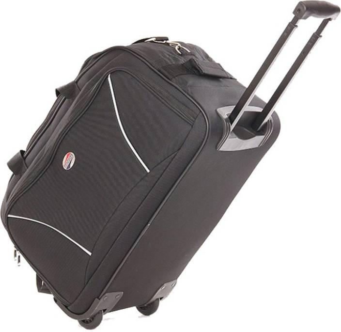 American Tourister 22 inch 57 cm VISION Duffel Strolley Bag BLACK ... 777d6363ef9b9