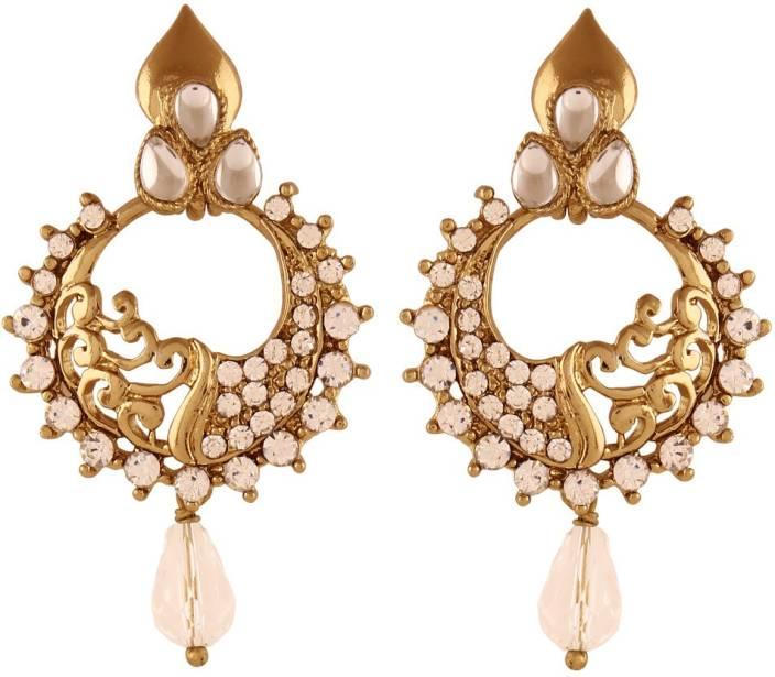 I Jewels Traditional Gold Plated Kundan & Stone Alloy Chandbali Earring