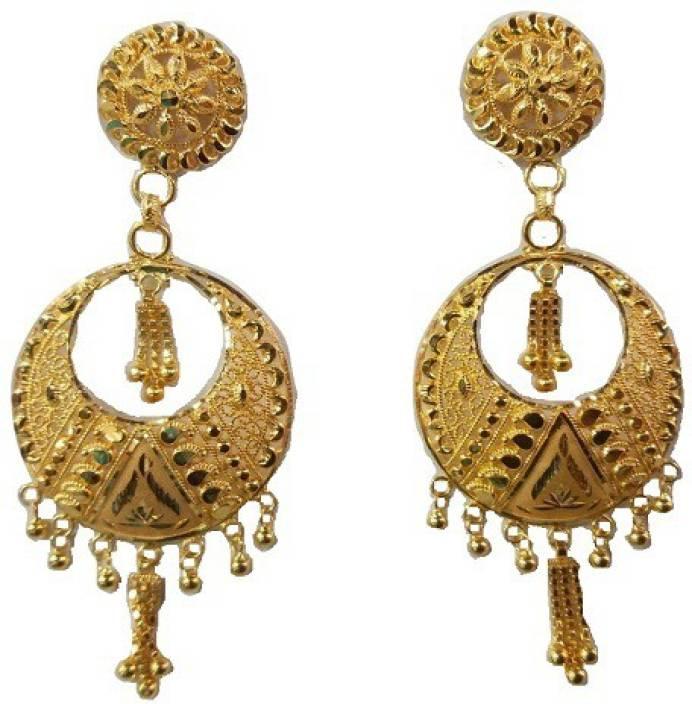 Sree KANBALA Yellow Gold 22kt Chandbali Earring Price in India ...
