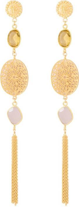 Voylla Precious Classic Plain Citrine Sterling Silver Dangle Earring
