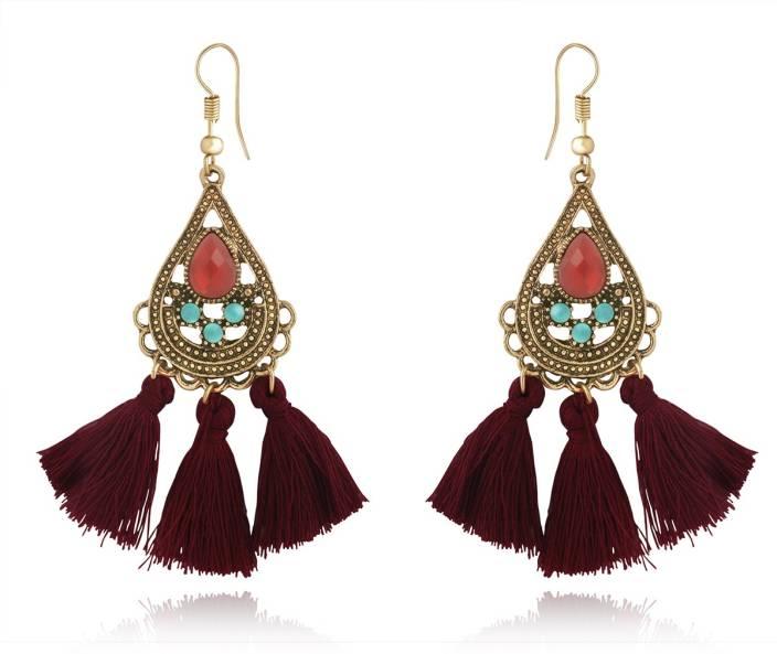 Spargz Indian Style Color Beads Woolen Long Earrings For Women Alloy Tel Earring