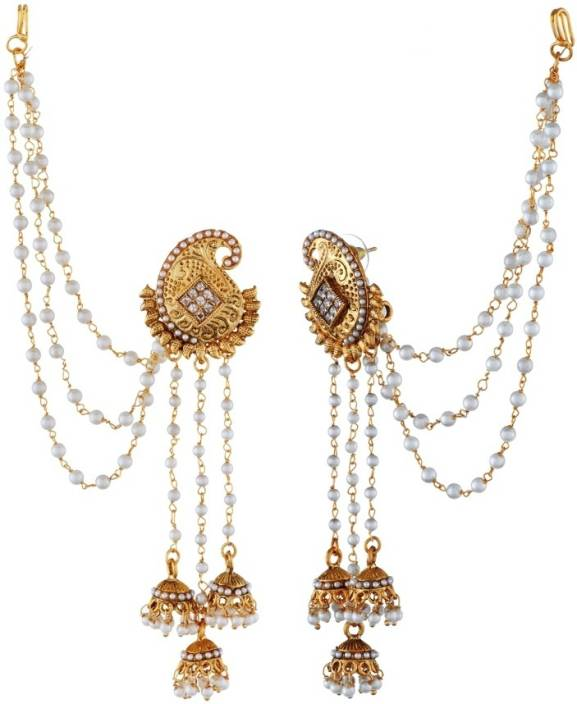 Tatva Exclusive American Diamond Based Designer Earrings With Kan Chain Alloy Ear Thread
