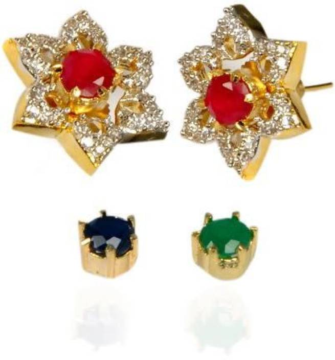 a90f51a2ae9 Flipkart.com - Buy Rashi Jewellery Change Stone 6 In 1 Brass Stud Earring  Online at Best Prices in India