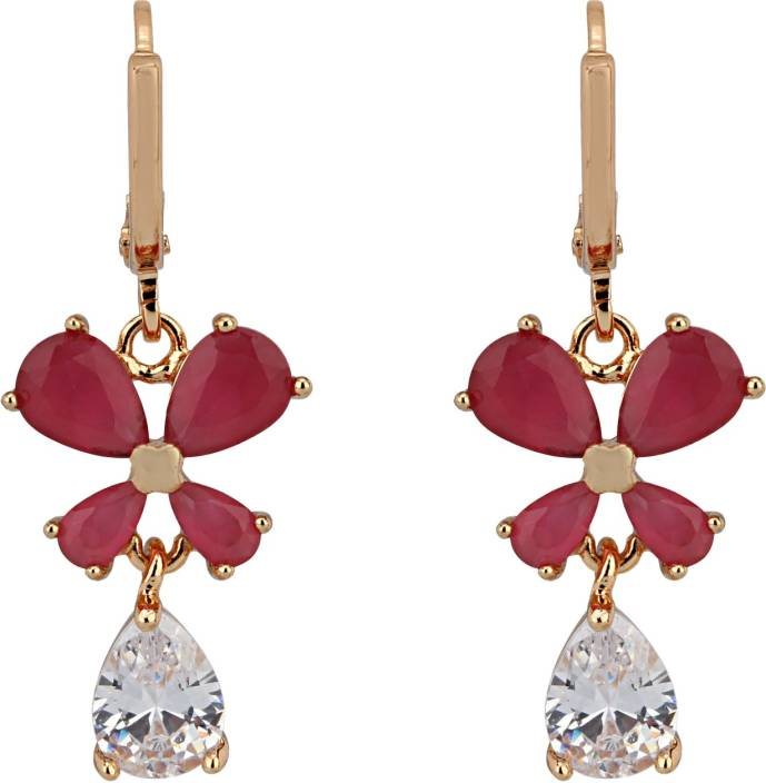 Ananya Traders High quality latest design of Cubic Zirconia shining stones Copper Drop Earring