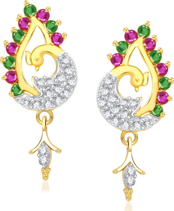 VK Jewels The Beauty of Peacock Cubic Zirconia Alloy Drop Earring