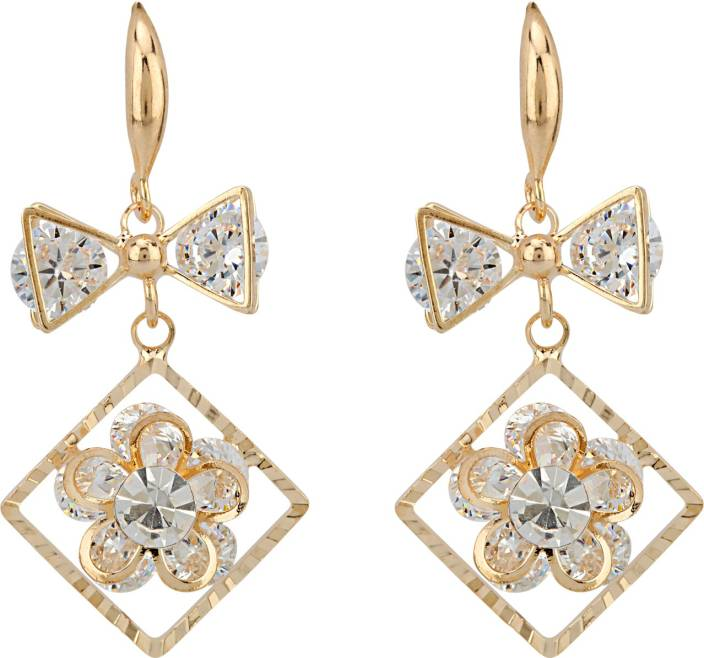 Ananya Traders High quality latest design of Cubic Zirconia shining stones Copper Dangle Earring
