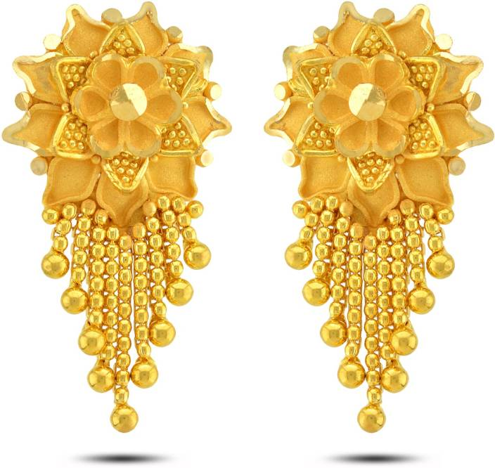 P N Gadgil Jewellers Fl Designer Yellow Gold 22kt Drop Earring